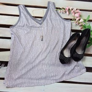 Lane Bryant Tank Top Metallic Silver V-neck 18/20